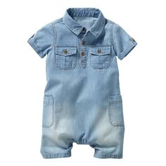 Image Cotton Denim Playsuit, 1 Month-3 Years R baby