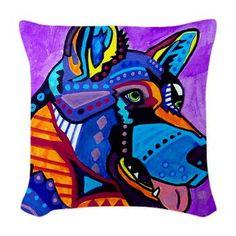 German Shepherd Art Pillow  Dog Woven Throw Pillow Modern Abstract Art by Heather Galler