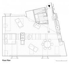 Plano de la planta del ático de moda en Vilnius