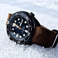 Seiko Black Turtle on ice