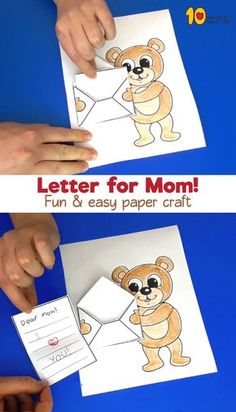 Mother's Day – Letter for Mom Muttertag – Brief für Mama Simple and a laugh actions for children (Visited 1 times, 1 visits today) Easy Paper Crafts, Fun Crafts, Diy And Crafts, Diy For Kids, Crafts For Kids, Mother's Day Printables, Mom Day, Mothers Day Crafts, Preschool Art