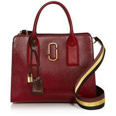 Marc Jacobs Big Shot Color Block Saffiano Leather Satchel (1.570 BRL) ❤ liked on Polyvore featuring bags, handbags, handbag satchel, satchel purses, marc jacobs handbags, red handbags and colorblock handbags
