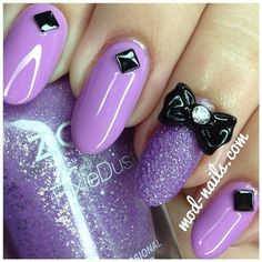 Bows & Studs ❤ liked on Polyvore featuring nails, purple, makeup and nails and nail polish