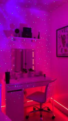 Neon Bedroom, Cute Bedroom Decor, Room Design Bedroom, Room Ideas Bedroom, Teen Room Decor, Music Bedroom, Rich Girl Bedroom, Hot Pink Bedrooms, Modern Teen Bedrooms