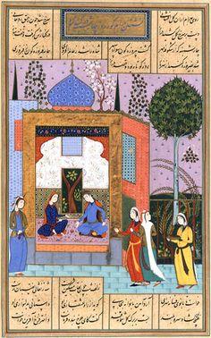 Supplément persan 1029, folio 227v Les Cinq Poèmes de Nezâmî, Les Sept Portraits Bahrâm Goûr passe le mercredi dans le pavillon à coupole turquoise et écoute le récit de la fille du roi du Maghreb Ecole safavide, 1620-1624