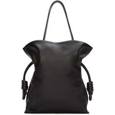 Loewe Black Leather Flamenco Knot Bag (€1.960) ❤ liked on Polyvore featuring bags, handbags, shoulder bags, genuine leather purse, leather drawstring handbags, real leather handbags, drawstring shoulder bag and genuine leather handbags