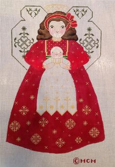 CHRISTMAS ANGEL hp needlepoint canvas 18m March Mattingly LL