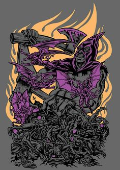 Daniele Pasquetti-T-Shirt (danielepasquetti1@gmail.com) #doom #boia #heads #fire #t-shirt #paskuo #danielepasquetti #metal #heavymetal #axe #violet #corpse