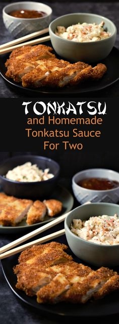 Tonkatsu and Homemade Tonkatsu Sauce for Two - This dish is super easy to make, delicious and satisfying. Tonkatsu is a Japanese dish which consists of a pork cutlet coated in Panko (Japanese bread crumbs) fried, then topped with Tonkatsu sauce. Pork Cutlet Recipes, Cutlets Recipes, Pork Recipes, Asian Recipes, Cooking Recipes, Chicken Recipes, Japanese Food Recipes, Healthy Recipes, Gastronomia