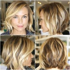 The real question is...how does she get it to look that way?  Because it's obviously adorable. Layered Haircuts, Messy Bob Haircut Medium, Choppy Bob Hairstyles Messy Lob, Uneven Bob Haircut, Medium Bob With Side Bangs, Medium Shaggy Bob, Bob Hairstyles For Thick Hair, Angeled Bob Haircut, A Line Bob With Bangs