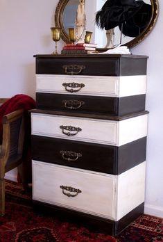 heidi schatze: DIY Black & White Striped Dresser with Annie Sloan Chalk Paint Old White and Graphite