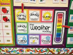 Weather Chart. Downloaded from previous pin into Word document.  Used Office Max online print service.  18x24 matte finish. Glued arrows to wide clothes pins.  Laminated myself.  Love it!