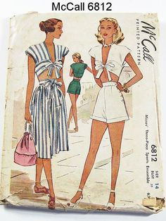 Vintage 40s Playsuit Pattern McCall 6812 by ThePatternSource, $65.00