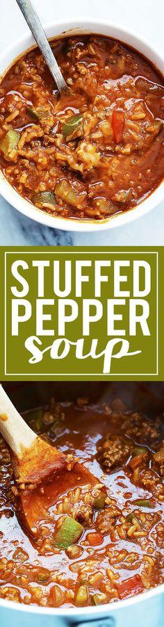 30 Minute One Pot Stuffed Pepper Soup | Creme de la Crumb