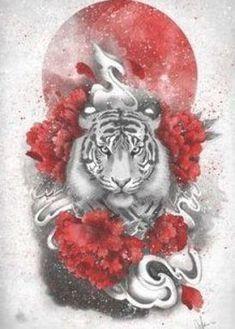 tiger tattoo ideas - White tiger, red sun by Marine Loup metal posters Tiger Art, Japanese Tiger, Asian Art, Mandala Tattoo, Animal Art, White Tiger Tattoo, Poster Prints, Trash Polka, Art