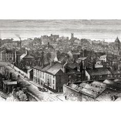 Lancaster Lancashire England In The Late Century From Our Own Country Published 1898 Canvas Art - Ken Welsh Design Pics x Lancaster England, Morecambe, Old Pictures, Vivid Colors, 19th Century, Paris Skyline, Poster Prints, Canvas Art, Country