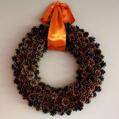 free pinecone wreath, crafts, seasonal holiday decor, wreaths, Adding a large satin ribbon seems to pull everything together Wreath Crafts, Diy Wreath, Ornament Wreath, Wreath Ideas, Moss Wreath, Candy Wreath, Wreath Burlap, Wreath Making, Ornaments