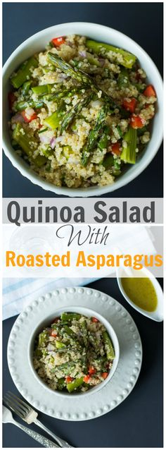 This Quinoa Salad with Roasted Asparagus is quick and easy to make for your busy days! It is made with red onion, pepper, asparagus, quinoa and vinaigrette! primaverakitchen.com