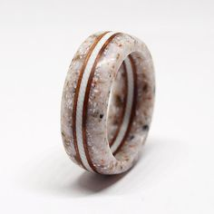Corian ring with white G10 and vavona burl inlay / Very durable / Hypoallergenic ring / Waterproof / Size 4,5 US - 10,5 US
