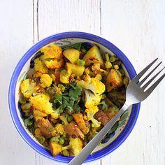 Vegan Aloo Gobi Mutter( Potatoes Cauliflower peas with Indian spices) Dad's Favorite. Glutenfree Recipe - Vegan Richa