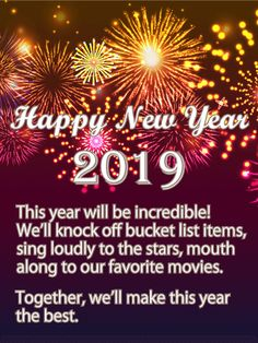 new year 2019 greeting ecard with wishes