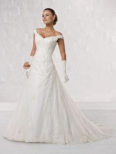 Off the Shoulder Wedding Dresses : Off The Shoulder A Line Wedding Dress