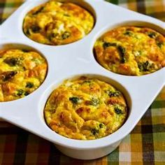 Baked Mini-Frittatas With Broccoli And Three Cheeses recipe from Kalyn's Kitchen. Ingredients: 1 cups broccoli flowerets (cut into small, bite-sized pieces), cup low-fat cheddar cheese, 4 heaping tsp. Egg Recipes, Cheese Recipes, Cooking Recipes, Healthy Recipes, Advocare Recipes, Diet Recipes, Breakfast Time, Breakfast Recipes, Breakfast Cookies