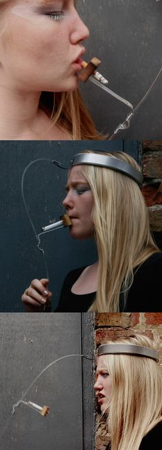 Anti-smoking device to help you give up. The head wear restricts and prevents the wearer from getting a satisfying toke. By Ella Boston