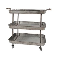 Calling all rustic modern and industrial lovers—this cart is a solid piece to have in your studio or workspace. Featuring three roomy tin compartments with a galvanized metal finish and caster wheels f...  Find the Tin Man 3-Tier Caster Cart, as seen in the Guest-Ready Home: Rustic Farmhouse Collection at http://dotandbo.com/collections/styleyourseason-guest-ready-home-rustic-farmhouse?utm_source=pinterest&utm_medium=organic&db_sku=104278