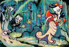 snow white in the dark forest - camille rose garcia Disney Kunst, Arte Disney, Disney Art, Camilla Rose, Camille Rose Garcia, Snow White Art, Mark Ryden, Candy Art, Eye Candy