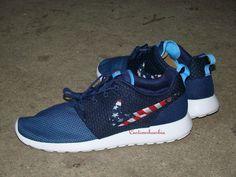 Custom Nike Roshe Run- Navy Nike Roshe Runs - American Flag Print Swoosh Only - Women/ Men