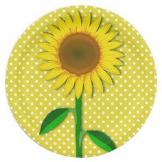 Sunny Yellow Sunflower Paper Plate - floral style flower flowers stylish diy personalize