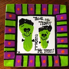 Kids Footprint Frankenstein  Halloween plate.