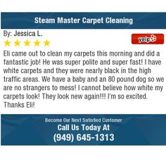 Eli came out to clean my carpets this morning and did a fantastic job! He was super polite...