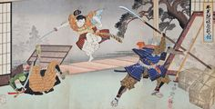 A scene from a famous Noh play. The outlaw priest Kumasaka Chohan (with long sword) fights a leaping Ushiwakamaru (later known as Minamoto no Yoshitsune). Kumasaka Chohan was a 12th-century leader of a band of thieves; he was finally defeated by 15-year old Ushiwakamaru during an attempted robbery at an inn where Ushiwakamaru was staying.