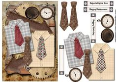 Male card Shirt Tie on Craftsuprint designed by Marijke Kok - Great male card… Image Stitching, Mushroom Crafts, Birthday Cards, Happy Birthday, Steampunk Clock, Free Printable Cards, Quick Cards, Birthday Pictures, Masculine Cards