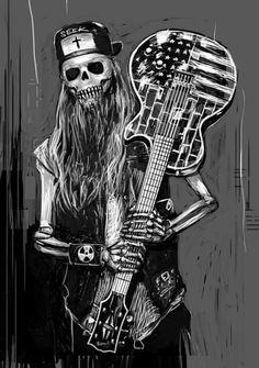 Skull with guitar Heavy Metal Art, Heavy Metal Bands, Skull Stencil, Skull Art, Music Notes Art, Leo Tattoo Designs, Guitar Drawing, Metal Skull, Gothic Art