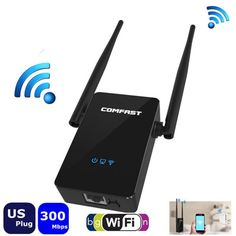Comfast CF-WR302S 300M Dual 5dBi Antenna Signal Booster Wireless WiFi Repeater Expander Black - Tmart