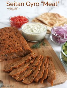 """Learn how to make a delicious, easy and meaty vegan gyro with this epic recipe for seitan gyro """"meat"""". Packed with protein, flavor and all the meaty texture you could want, this recipe is a delicious and healthy vegan dinner.  #vegan #veganrecipe #seitan #seitanrecipe #gyro #gyros #tzatziki #vegandinner #veganmeal #veganmealprep #veganprotein #healthyvegan #healthydinner #highprotein #vegetarian #vegetarianrecipe #plantbased #plantbasedrecipe #veganmeat #meatless #meatfree #dairyfree Vegan Entree Recipes, Vegan Chickpea Recipes, Vegan Lentil Recipes, Seitan Recipes, High Protein Vegan Recipes, Best Vegan Recipes, Vegan Snacks, Vegan Ideas, Vegan Protein"""