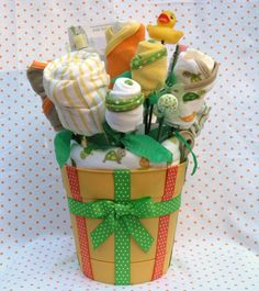 """Baby Shower Gift Bath Time Bouqet $60.00 Love that it's """"turtle themed"""" :)"""