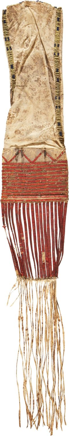 A SIOUX QUILLED AND BEADED HIDE TOBACCO BAG. c. 1875... American   Lot #55333   Heritage Auctions