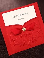 Simple Asian Style Embossed Tri-fold Wedding In... – USD $ 27.99