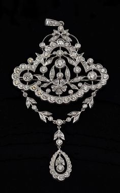Ladies Girandole Style 18k White Gold And Diamond Brooch/Pendant With Oval Center Diamond Drop And Bright Polish Finish