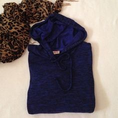 """Navy marble hoodie Mossimo navy and black marble drawstring pu over hoodie. One pocket in the front. Cross over back slightly open. Hangs loosely. Great condition. Aprox measurements laying flat Bust: 20"""" Length 24 1/2"""" Mossimo Supply Co Tops Sweatshirts & Hoodies"""
