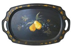 Pears & Grapes Painted Tole Tray