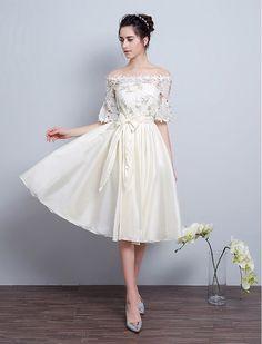 1950s Vintage Inspired Off Shoulder Leaf Me Up Embroidery Short Wedding Dress White