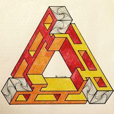 #impossible #isometric #penrosetriangle #Oscar_reutersward #symmetry #geometry #pattern #Escher #mcescher #handmade #handpaint #triangle #triangleimpossible #artist_sharing #art_empire Penrose Triangle, Sacred Geometry Art, Isometric Art, Pixel Design, Geometric Drawing, Typography Poster Design, Geometry Pattern, Mc Escher, Math Art