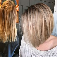Before and after blonde balayage bob by @lindseymariecolor on instagram
