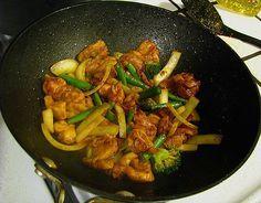 Chicken, Veggies and Onions in Wok