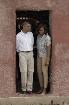 The Obamas in Africa | President Obama and First Lady Michelle Obama stand together at the 'Door of No Return,' at the slave house on Goree Island, in Dakar, Senegal. | Photo: Rebecca Blackwell /AP